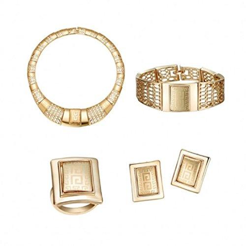 Tobert Women's 18K Gold Plated Jewelry Set Necklace Bracelet Earrings Ring Gift (70s Fashion Jewelry)