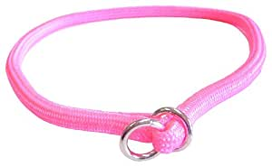 Hamilton 3/8 Inch x 24 Inch Round Braided Choke Nylon Dog Collar, Hot Pink