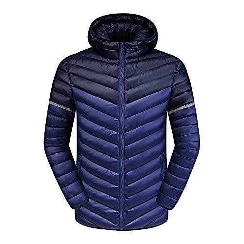 Cosida Malloom Ligero Pluma Con Plumón Compresible Chaqueta Invierno Capucha De Oscuro Abrigo Para Azul Hombre Acolchada IRTqI