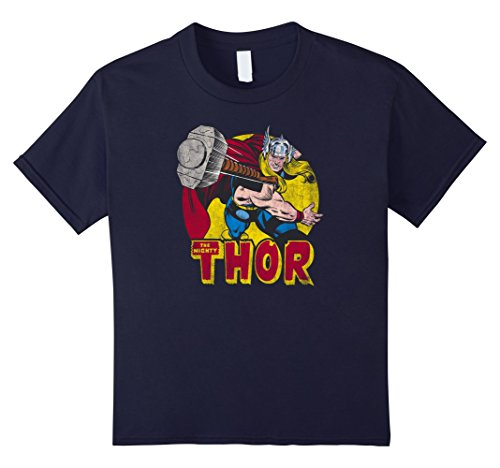Kids Marvel Mighty Thor Hammer Throw Vintage Graphic T-Shirt 12 Navy