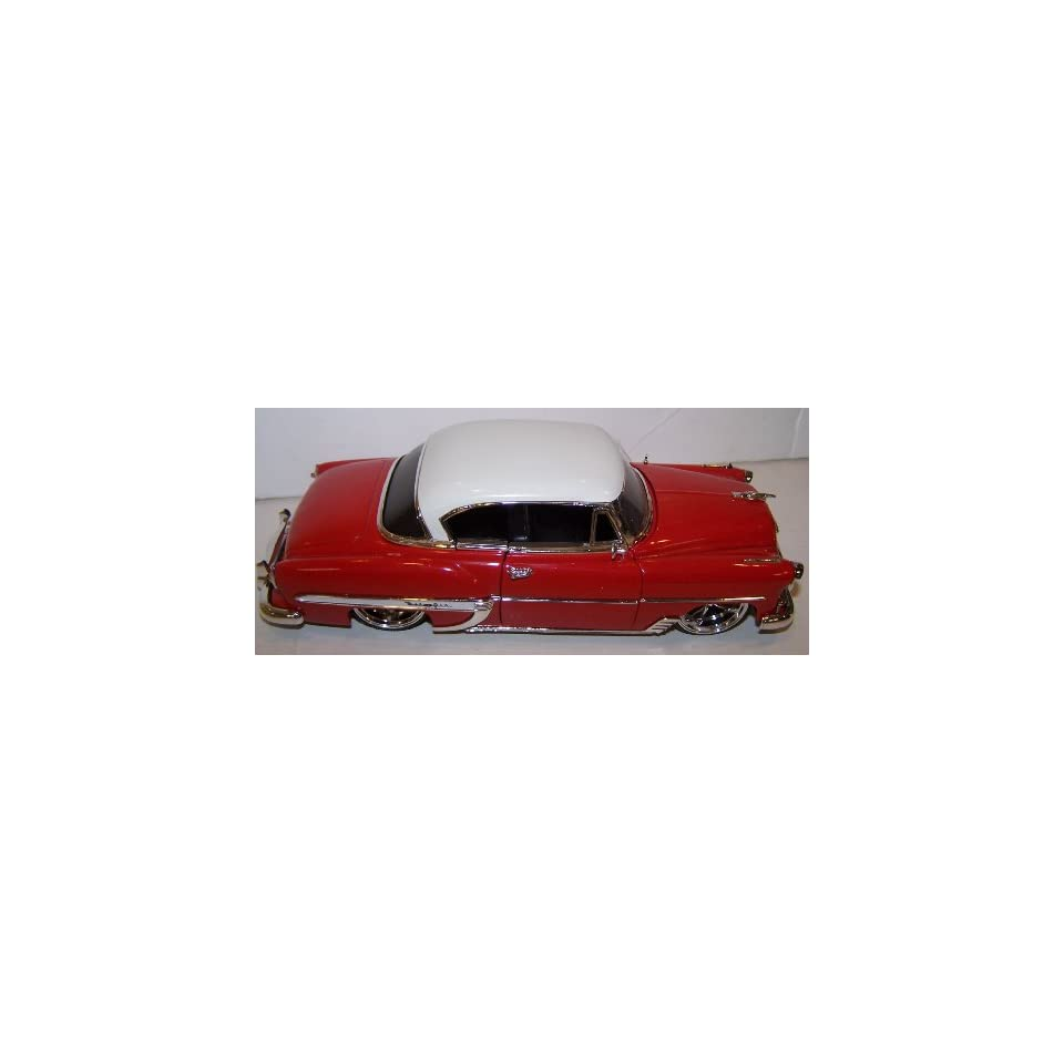 Jada 1/24 Scale Dub City Diecast 1953 Chevy Bel Air in Color Red with White Top