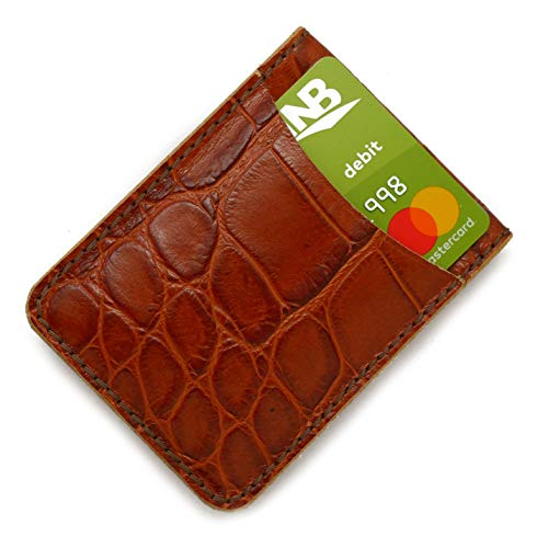 (Leather Handmade Minimalistic Magnetic Wallets (Light Brown Faux-Alligator Cowhide Leather, Double Pocket))