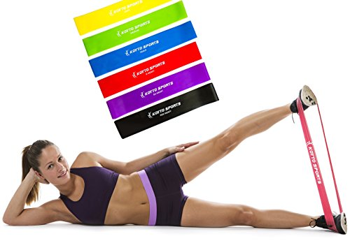 Koyto Sports Exercise Bands – Premium Set of 6 Fitness Resistance Loop Bands 12″x 2″ Plus E-Book Workout Manual