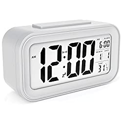 SINMI SM888 Alarm Clock Kids Alarm Clock with Backlight Sensor Touch LED Clock with Time Temperature Date White