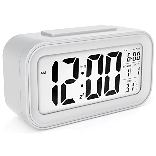 Digital Clock Morning Clock Low Light Sensor Technology Light On Backligt When Detect Low Light Soft Light That Won't Disturb The Sleep(White)