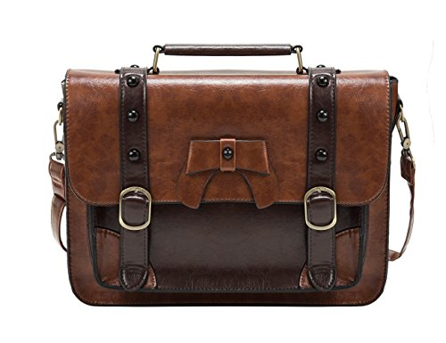 ECOSUSI Vintage Crossbody Messenger Bag Satchel Purse Handbag Briefcase for Women & Girl, Coffee