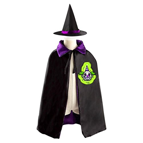 Green Dizzy Clown Halloween Costume Witch Wizard Cloak Dress Suit Cape Hat (Homemade Girl Clown Costume)
