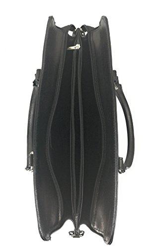 Zerimar Bolso Maletín de Cuero para Mujer Bolso de Hombro con gran capacidad Piel suave negro