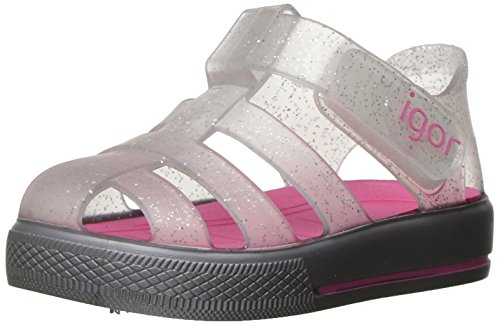S10171.075 Igor Girls' Star Sandal, Silver Glitter/Fuschia, 27 EU(9.5 M US ()