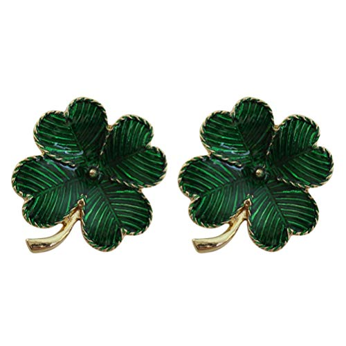 (LUOEM 2pcs Green Irish Four Leaf Clover St. Patricks Day Brooch Pin Retro Lapel Pin for St. Patricks Day Accessory)