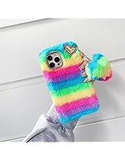 TYWZ Pluche Rainbow Case voor Samsung Galaxy S21 Ultra, Girly Faux Konijnbont Pluizige Cover Stijlvolle Leuke Zachte Warme Winter Harige Bumper met Hart Hanger-Rood Groen
