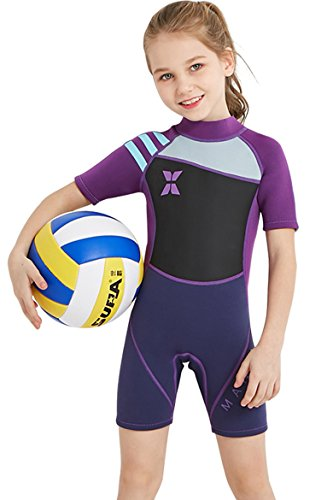 Cokar Kids Wetsuit Shorty Short Sleeve 2.5mm Neoprene One Piece Swimsuit Boys Girls Diving Suit