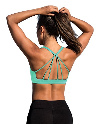 icyzone Padded Strappy Sports Bra Yoga Tops Activewear Workout Clothes for Women (M, Florida Keys) (Womens Sports Bra Top)