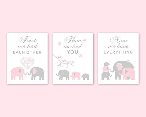 Elephant Nursery Wall Art for Pink and Gray Nursery Animal Decorations for Baby Girl Kids Room Decor - Choose PAPER PRINTS or CANVAS, Set of - Quote Shipping International Usps