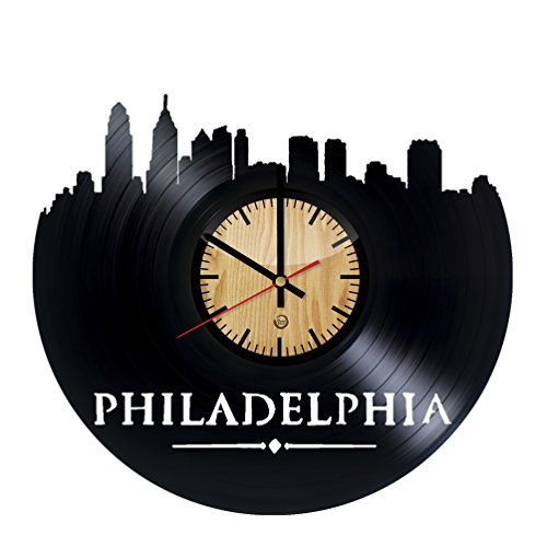 Welcome Dzen Store Philadelphia Record Wall Clock - Get unique of living room wall decor - Gift ideas for girls and boys – City Unique Art Design