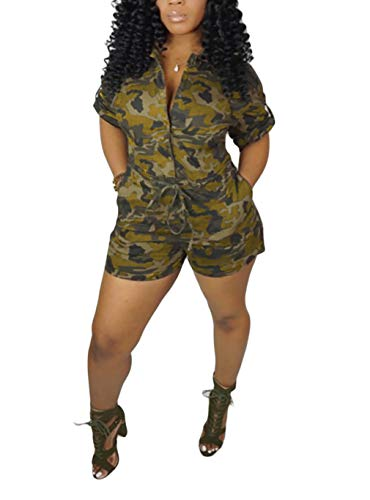 LROSEY Women's Sexy Short Sleeve V Neck Button Down Jumpsuit Summer Camo High Waisted Skinny Shorts Romper with Belt Plus Size