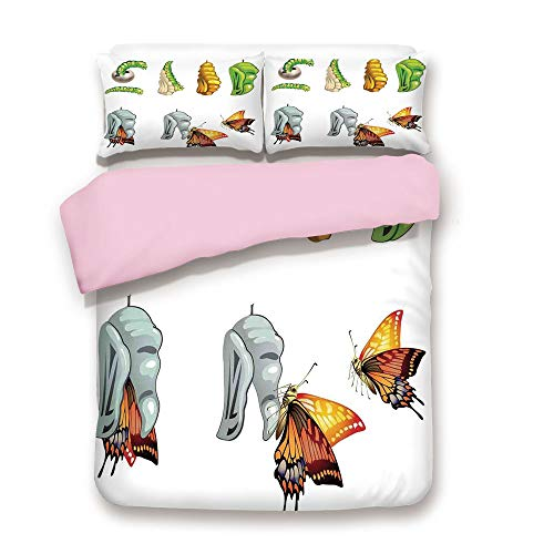 Pink Duvet Cover Set,King Size,Illustration of Butterfly Stages with Cocoon Life Cycle Nature Print Home Decor Decorative,Decorative 3 Piece Bedding Set with 2 Pillow Sham,Best Gift For Girls Women,Mu