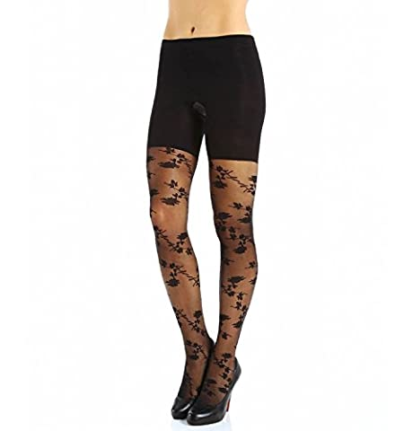 SPANX Patterned Tight-End-Tights Stunning Roses, Black, (Spanx Collant)