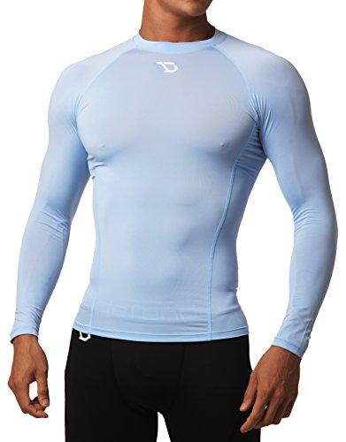 (Defender Men's Long Sleeve T-Shirt Cool Dry Tights Underlayer Hockey SK_S )