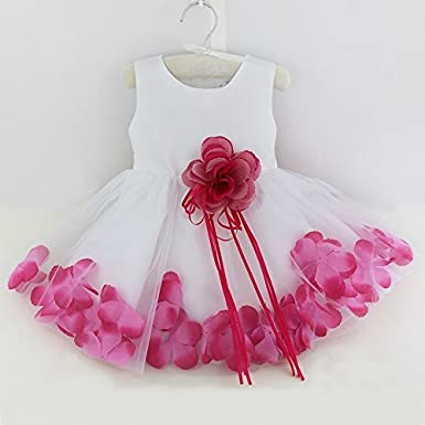 Freebily Baby Girls Petals Formal Wedding Bridesmaid Pageant Party Tulle Flower Dress White Baptism Christening Gown