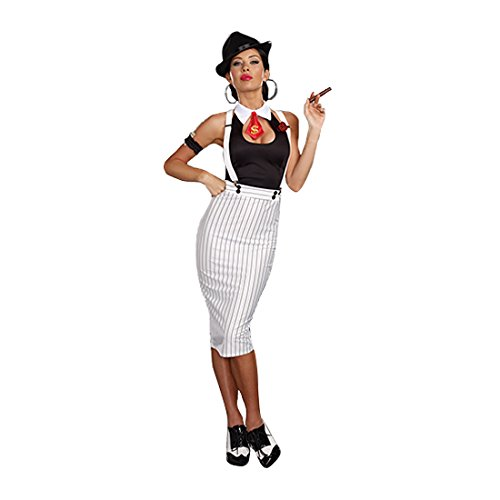 Dreamgirl Women's Dirty Work White Pinstripe Gangster Pin-Up Costume, White/Black, (Pinup Halloween Costume)
