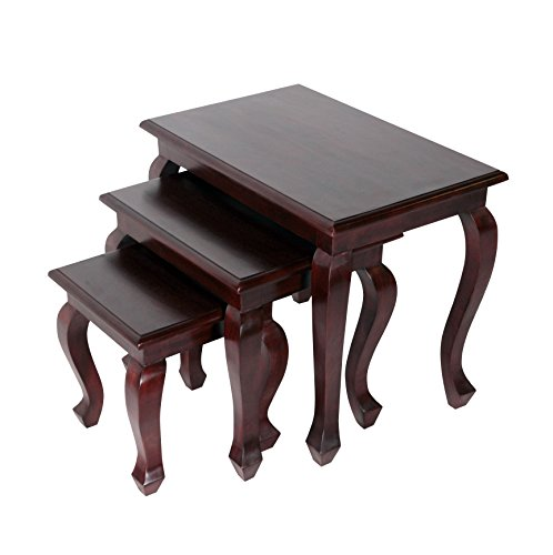 - NES Furniture abc10044 Vania Nesting Tables Fine Handcrafted Solid Mahogany Wood, 24