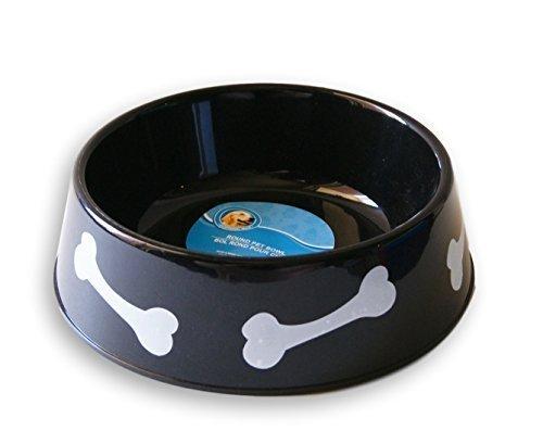 Black Plastic 6-Cup Capacity Bone Pattern Dog Bowl - 8.5 x 3