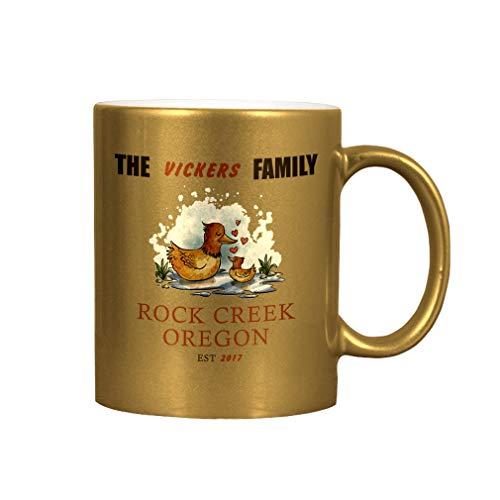 Personalized Custom Text Ducks Creek Ceramic Coffee Cup Metallic Mug - Gold ()