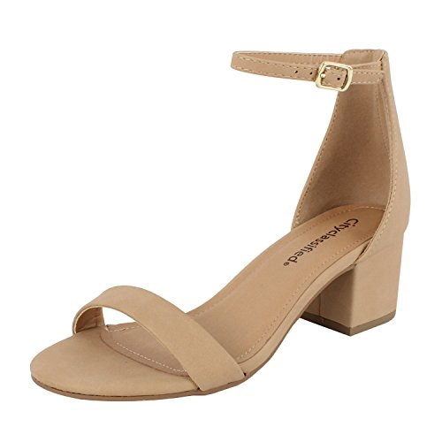 Ankle Heels - City Classified Women's Block Open Toe Ankle Strap Heeled Sandals Natural 9
