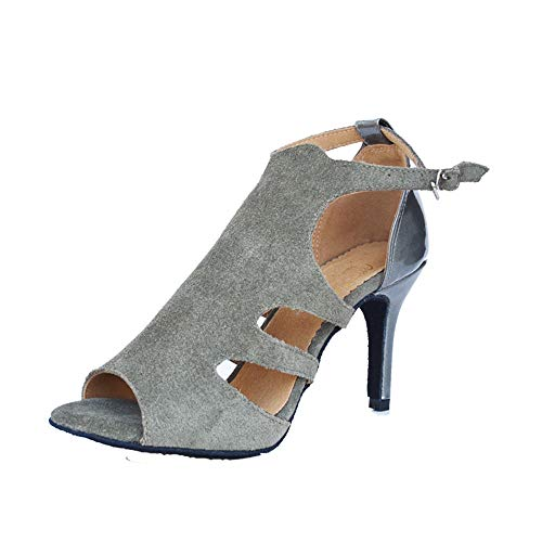 QXH Female Banquet Gray Heel Leather Latin Shoes 6cm Dance Soft Bottom High rnFxTHrd