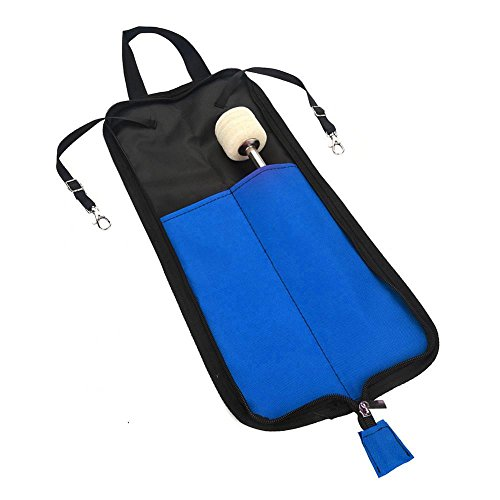 (IRIN Drum Stick Storage Hanging Bag Drumstick Portable Handbag with Handle 5 Colors Available (Black/Red/Green/Blue/Pink)(Blue))
