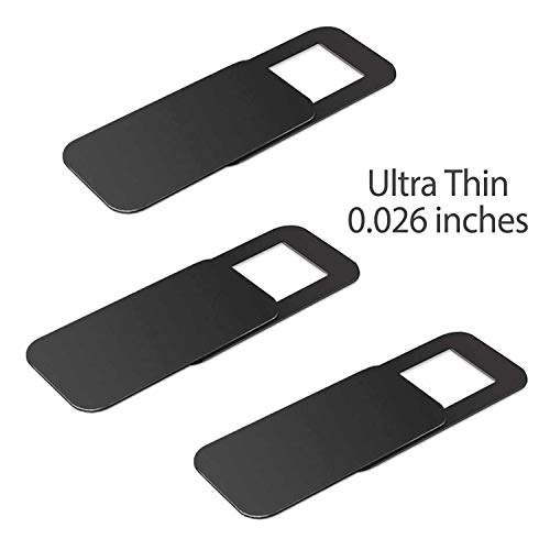 T10 Laptop Camera Cover [3 Pack], 0.03 inches Super Slim Slide Webcam Cover for Computer, iMac, MacBook Pro, Cell Phone, Web Cam Security Cover Protect Your Privacy, Camera Blocker - Black