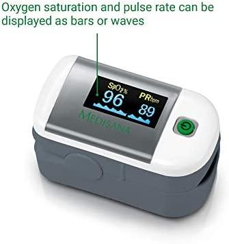 Medisana PM 100 Oxímetro de pulso, medición de la saturación de oxígeno en sangre, oxímetro de pulso de dedo con pantalla OLED y operación con una ...