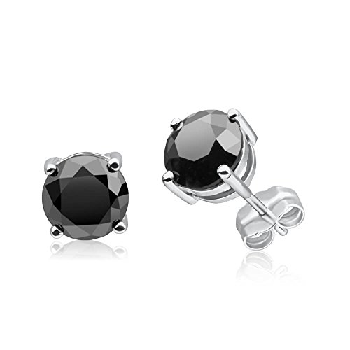 3 Carat Total Weight Black Diamond Solitaire Stud Earrings Pair set in 14K White Gold Popular Value Collection by Houston Diamond District