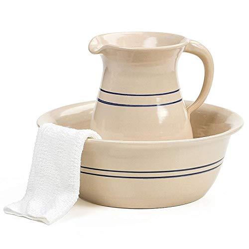 Heritage Blue Stripe Wash Bowl Basin and Pitcher Set