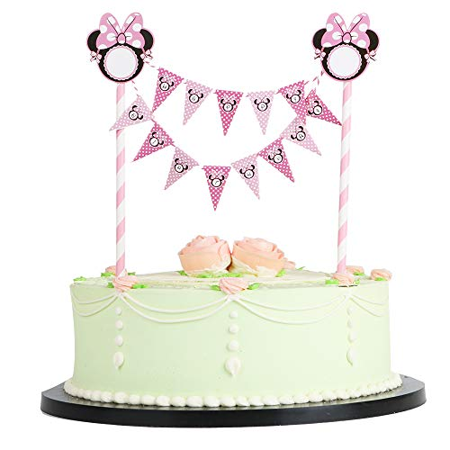 LVEUD Mini Happy Birthday Cake Topper Banner- Colorful Party Cake Decoration Supplies (Pink Mouse) -