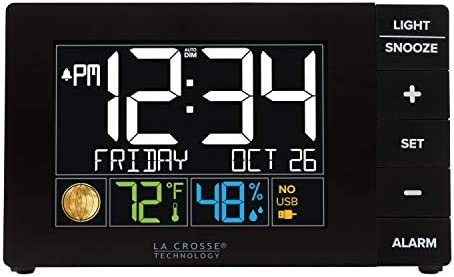 La Crosse Technology W88723 Color Alarm Clock with Temperature Humidity with USB Port, Black