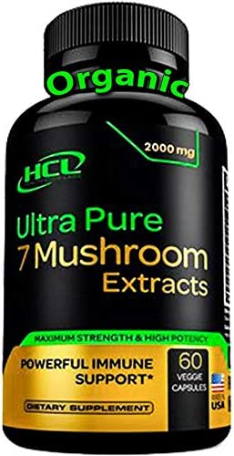 Organic Mushroom Supplement Extracts – Strong Immune System Booster Brain Supplement Complex of Lions Mane Cordyceps Chaga Reishi Turkey Tail Maitake Shiitake Capsules Stress Relief Memory Pills
