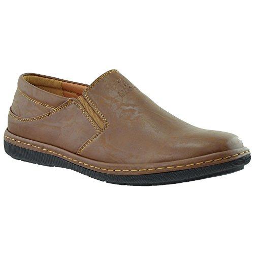 Mens Casual Shoes Slip On Loofers Double Goring Flat Heel Dark Brown