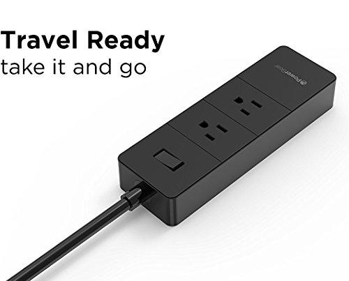 PowerBear Travel Adapter & Surge Protection Strip | Charging Station with USB Ports | Global Power Adapter with 3 International Power Adapters - Black [24 Month Warranty] by PowerBear (Image #4)