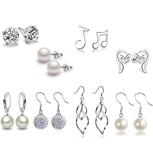 - Silver Plated Classic Double Linear Loops Design Twist Wave Earrings Crystal Pearl Fox Musical Notation Stud Earrings Set