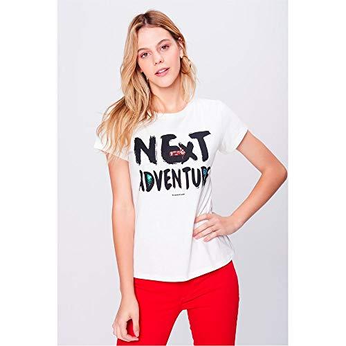Camiseta Estampada Com Paetês Feminina Tam  Pp cor  Off-White ... c5e227bad66