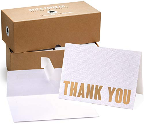 100 Letterpress Thank You Cards and Self Seal Envelopes. Perfect for Graduation, Business, Weddings – Opie's Paper Company (Gold)