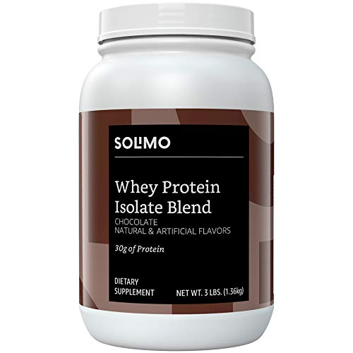 Amazon Brand – Solimo Whey Protein Isolate Blend, Chocolate, 3 Pound Value Size (35 Servings)