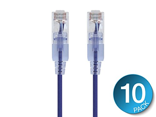 (Monoprice Cat6A Ethernet Patch Cable- 10 feet- Purple | Snagless RJ45 550Mhz UTP Pure Bare Copper Wire 10G 30AWG 10-Pack - SlimRun Series)