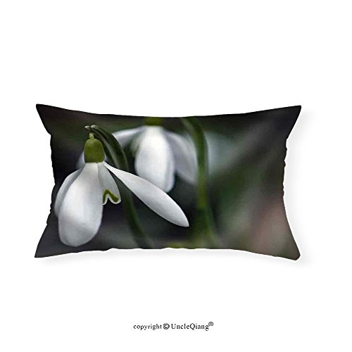 VROSELV Custom pillowcasesCloseup of White Snowdrops Taken from the Side - Fabric Home Decor(12''x24'') by VROSELV