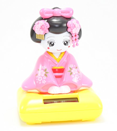 Bobble Doll Head (A Sitting Pink Geisha Girl Solar Powered Japanese Kimono Car Bobble Head Doll Figurine (Pink Sit))