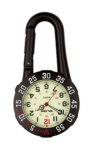- Black Clip on Carabiner Rotating Bezel Luminous Face FOB Watch Doctors Nurses Paramedics Chefs