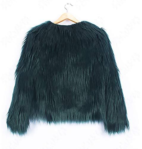 manches veste épaissir unique manteau vert femme fourrure d'hiver Manteaux produit classique rond fausse chaud col femmes plus festive courte partie longues veste x0TYqwwP