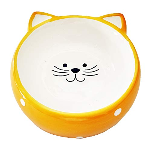 Pet Feeding & Watering Supplies Ceramics Bowls for Cats Puppy Small Dog Kitty (Orange)